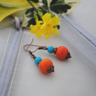 Orange splash earrings