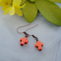 Orange howlite cross earrings