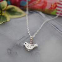 Silver & pink lilac bird necklace