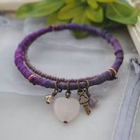 Sari bangle charm bracelet set purple with rose quartz heart