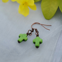Green howlite cross earrings