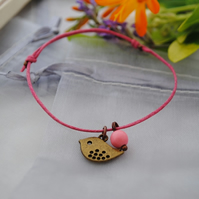 Friendship Bracelet-Fuchsia and Copper bird