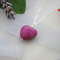 Purple howlite heart pendant necklace