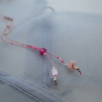 Sale-Pink & silver silk lariat necklace