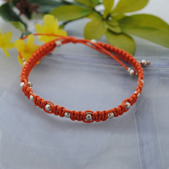 Friendship Bracelet-Sale-Orange macrame friendship bracelet