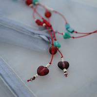 Sale-Red & turquoise silk lariat necklace