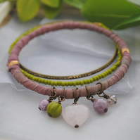 Sari bangle charm bracelet set with rose quartz