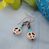 Howlite peace & turquoise earrings