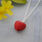Red howlite heart pendant necklace