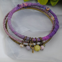 Sari bangle charm bracelet set purple with jade