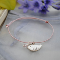 Friendship Bracelet-Pink cord with silver bird