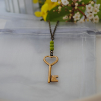 Brass key necklace