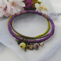 Sari bangle charm bracelet set purple with brass heart & key