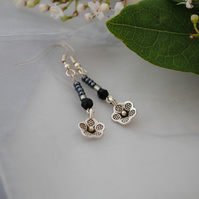 Black & silver flower earrings