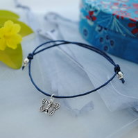 Friendship Bracelet-Navy Silver butterfly