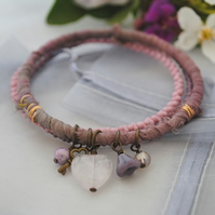 Sari bangle charm bracelet set with rose quartz heart in heather