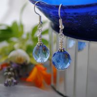 Sapphire blue & silver bead earrings