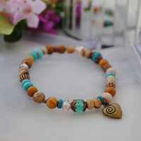 Picture jasper & turquoise heart stretch bracelet