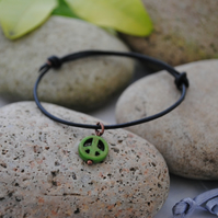 Friendship Bracelet-Black Leather & Green howlite peace