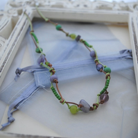 Lime Zest leather knot necklace