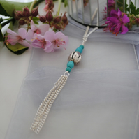 Turquoise & silver long layering necklace with tassel