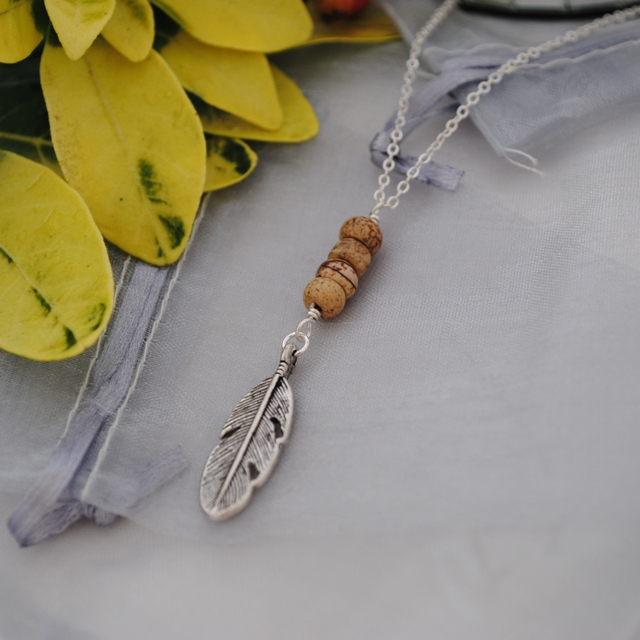 Picture Jasper & silver leaf long layering necklace