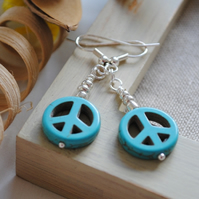 Turquoise peace & silver seed bead earrings