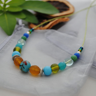 Fresh green & amber casual necklace-boho, beach & surfer style