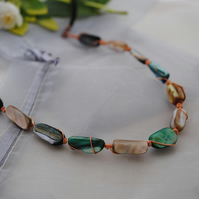Copper rivershell twist necklace