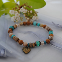 Turquoise & picture jasper heart stretch bracelet