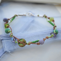 Lime Zest leather knot bracelet