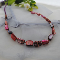 Copper rivershell twist pink red necklace