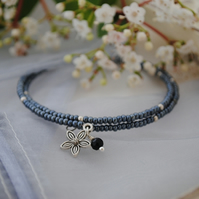 Grey & silver wrap bracelet with flower charm