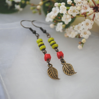 Leaf & chautreuse ruby earrings