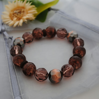 Copper and brown stretch bracelet