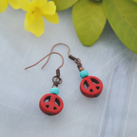 Red howlite peace & turquoise earrings