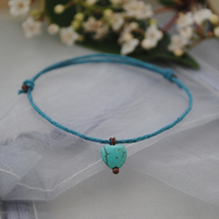 Friendship Bracelet-Howlite heart & turquoise waxed cotton