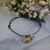 Friendship Bracelet-Navy with copper bird