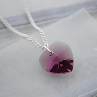 Amethyst swarovski heart necklace