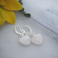 Rose quartz heart  kidney earrings