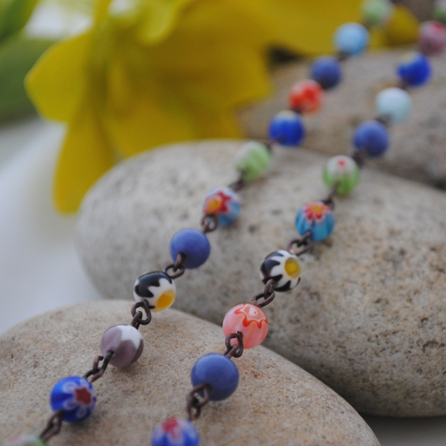 Millefiori & denim blue linked necklace
