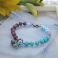 Flowers bracelet purple & turquoise