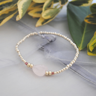Silver and Rose Quartz heart Stretch bracelet