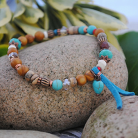 Picture jasper & turquoise suede bracelet with heart charm