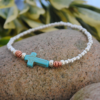 Silver and Cross Stretch bracelet - copper