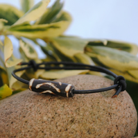 Friendship Bracelet-black leather ethnic wood bead