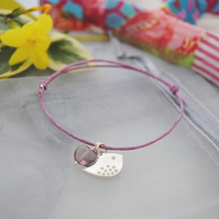 Friendship Bracelet-Violet cord with silver bird & heart bead