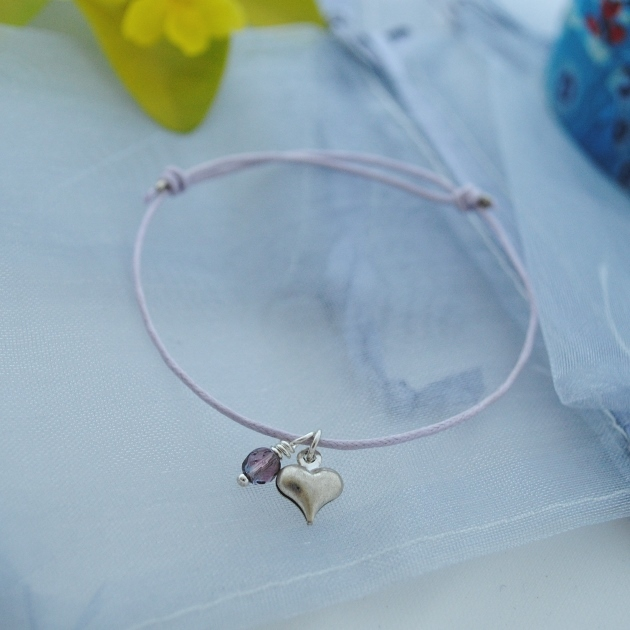 Friendship Bracelet-lilac cord with silver heart
