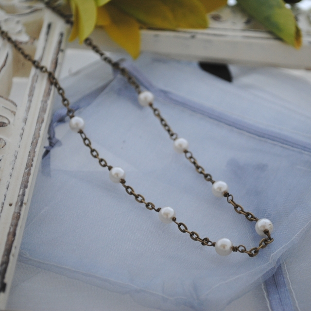 Pearl & brass necklace