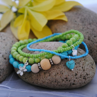 Turquoise & lime bracelet stack